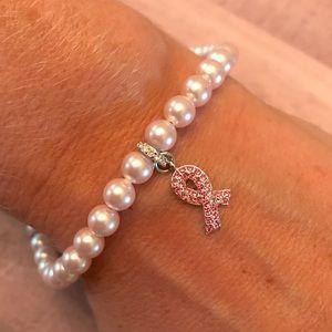 Swarovski pearl Breast Cancer Awareness bracelet